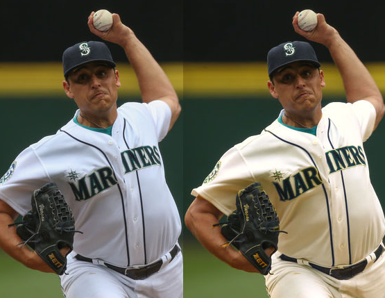 The Mariners in white on the left, cream on the right.