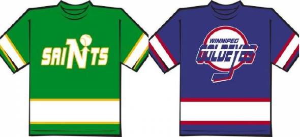 The Saints and Goldeyes wore NHL style jerseys on August 11, 2011