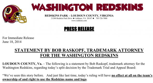 The official statement from the Redskins about the ruling