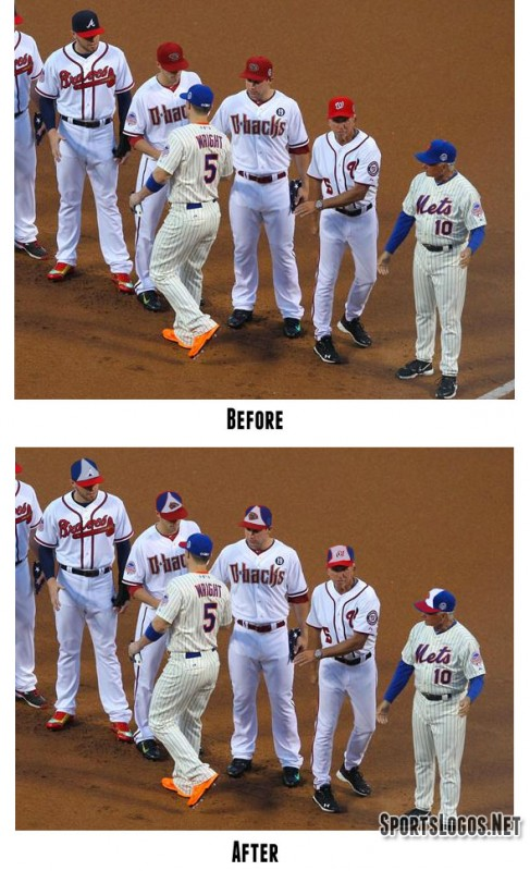 The 2013 MLB All-Star Game (top) looks like a classic baseball game between the leagues best is about to begin. The photoshopped version (bottom) makes one wonder when the circus arrived and where's the nearest exit out of here.