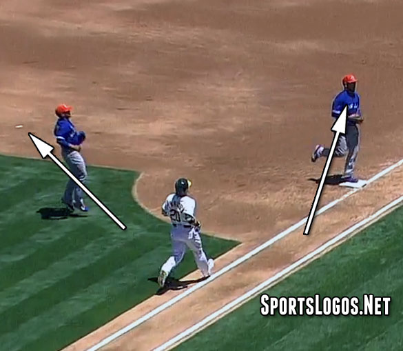 The patch in the dirt as Edwin completes the play at first