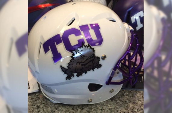 Football Helmet Horns Tcu Horned Frogs White Helmet