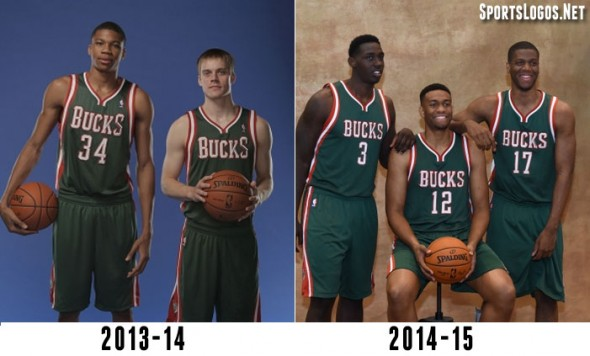The old Bucks uniform on left, new on right. Note the change in the wordmark