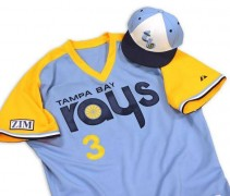 "The Rays will wear this 1980s ""fauxback"" uniform on August 10 in Chicago"