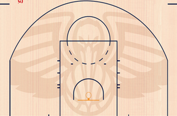 New Pelicans Court Has Sublimated Image Of Pelican Within Arc