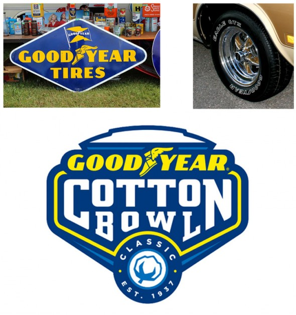 The new Cotton Bowl logo design was based off of Goodyear signage and tires