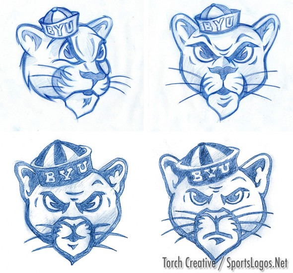 Sketches showing the different looks  of the logo presented to BYU (Photo: Torch Creative)