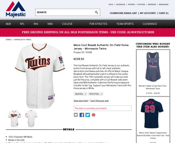 The new Twins jersey featured on the Majestic Athletic site before it's actually unveiled to the public