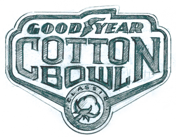 The original sketch of the 2015 Goodyear Cotton Bowl logo (Torch Creative)