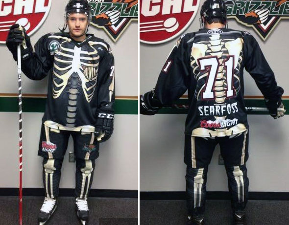 Utah Grizzlies Skeleton Halloween Jerseys 2014-15