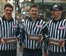 Officials from the Western Hockey League raise funds on the streets of Vancouver in 2012. Via The MOfficials on Twitter: @theMOfficials