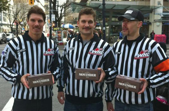 CHL Officials Wearing Moustache Decals on Helmets