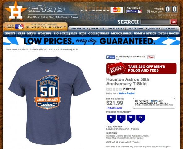 Astros 50th anniversary tshirt mlbcom