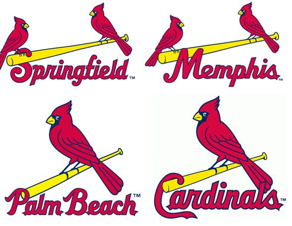 Cardinals affiliates using similar logos. Clockwise TL -- Springfield Cardinals (AA), Memphis Redbirds (AAA), Palm Beach Cardinals (A), St Louis Cardinals (MLB)