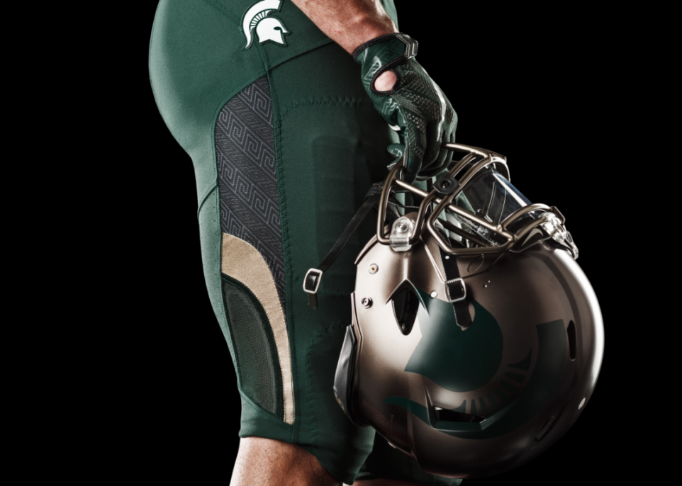 Michigan State adds bronze-helmeted alternate uniform to uniform set ... dc5089aad