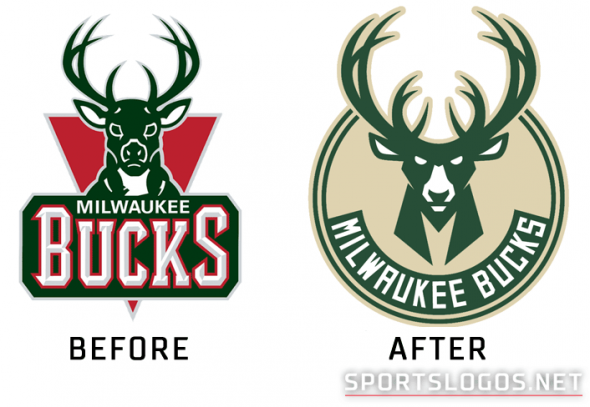 Milwaukee Bucks Logo Before and After