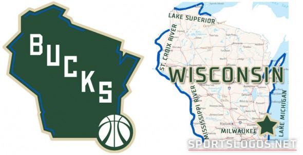 Milwaukee Bucks New Logo Compare Alternate with Wisconsin Map