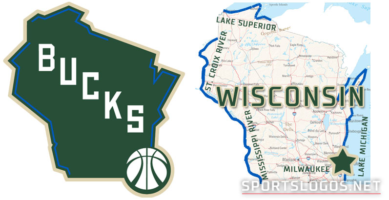 Milwaukee Bucks New Logo Compare Alternate With Wisconsin Map