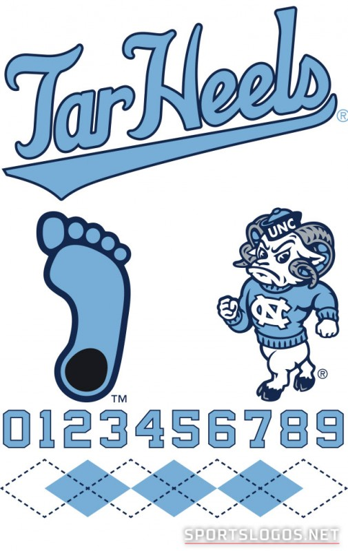 New UNC Tar Heels Logos Numbers