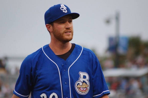 Pitcher Brooks Hall, via the Shuckers' Facebook page
