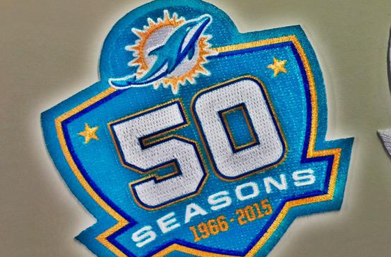 Miami Dolphins will wear two separate patches for their 50th season
