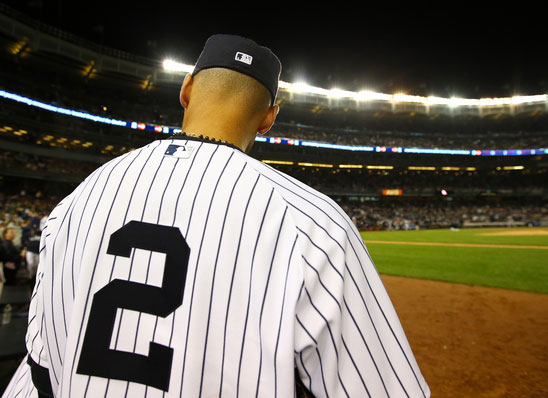 Jerry's MLB logo design on the back of Derek Jeter's cap and jersey in 2014