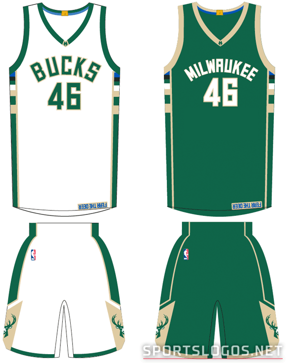 New Milwaukee Bucks Home and Road Uniforms 2015-16