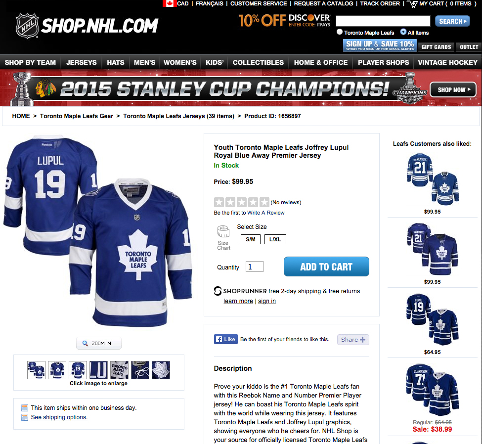 Confused NHL Combines Leafs and Lightning Uniforms
