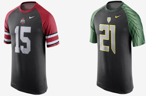 Which college football teams will be wearing those black Nike jerseys?