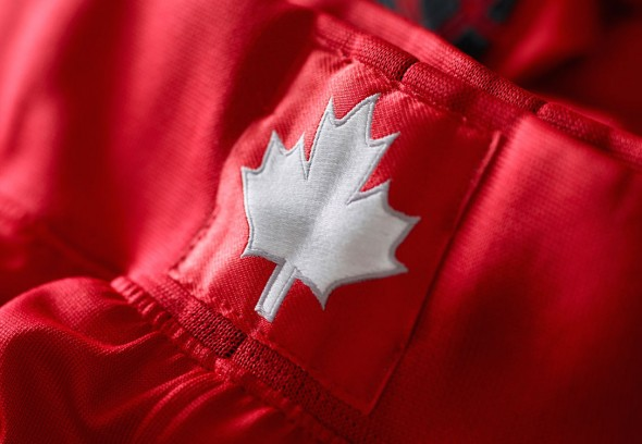 A maple leaf is on the front waistband of all the shorts