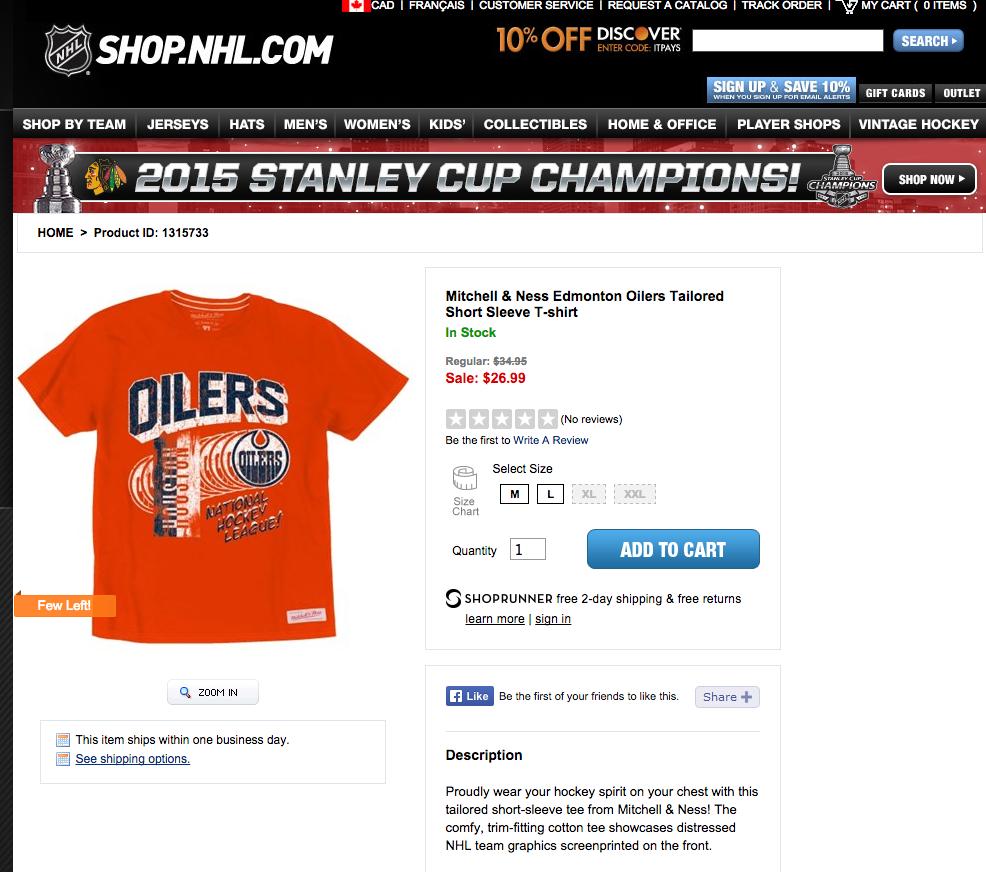 NHL Shop Does It Again: Offers Houston/Edmonton Oilers Shirt