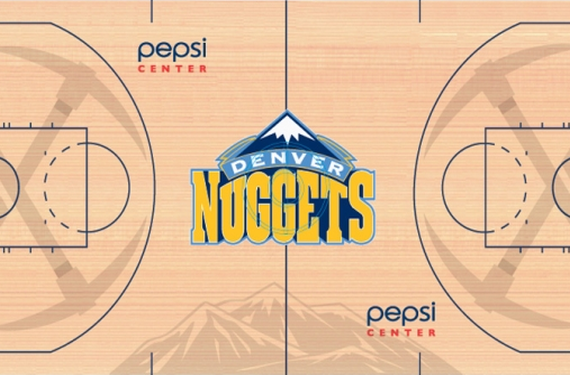 Denver Nuggets add sublimated pickaxes and mountains to their new court design