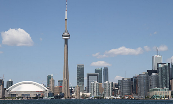 The Rogers Centre is clearly visible in the actual Toronto skyline