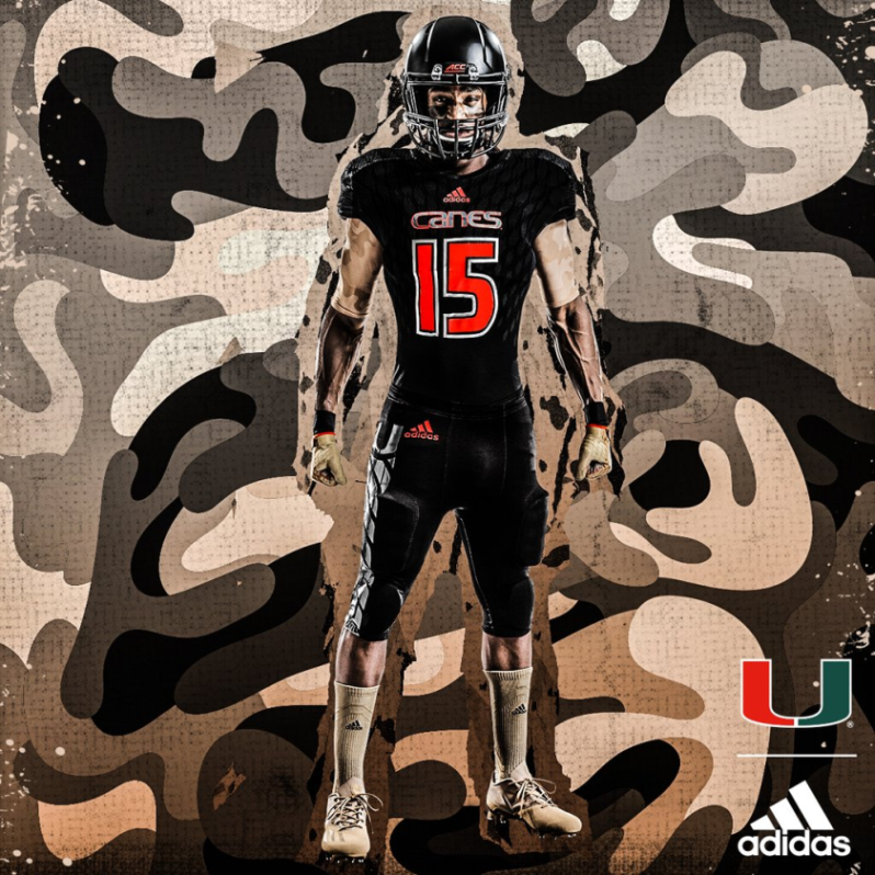 size 40 83493 ee7a3 Miami Hurricanes unveil all-black Military tribute uniforms ...