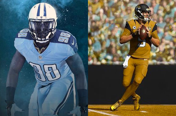 16267a604dc The Tennessee Titans and Jacksonville Jaguars will be the next two teams to  receive the Color Rush treatment, the special uniforms officially unveiled  last ...