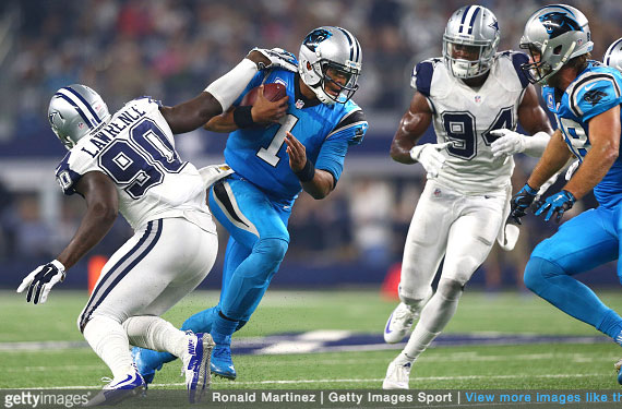 Pics: Panthers, Cowboys In Their ColorRush Uniforms