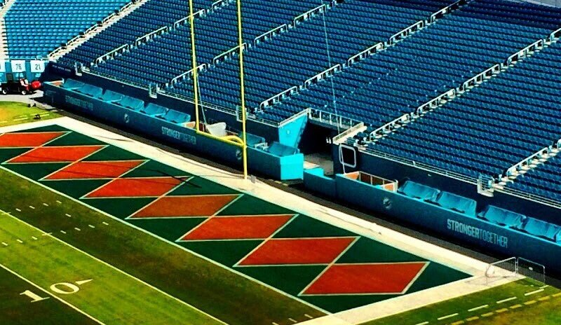 Miami Dolphins paint their field in throwback design for throwback ... 494194aaa
