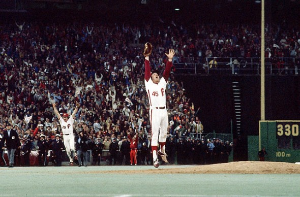 Mike Schmidt and Tug McGraw celebrate a 1980 World Series championship.