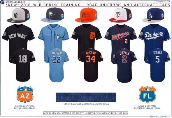 2016 Spring Training Uniforms - Road and Alternates Yankees Rays Tigers Twins Dodgers