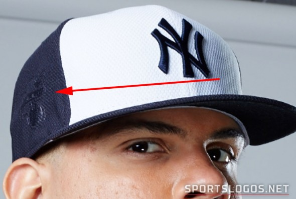 A look at the AL Logo patch on the side of the cap