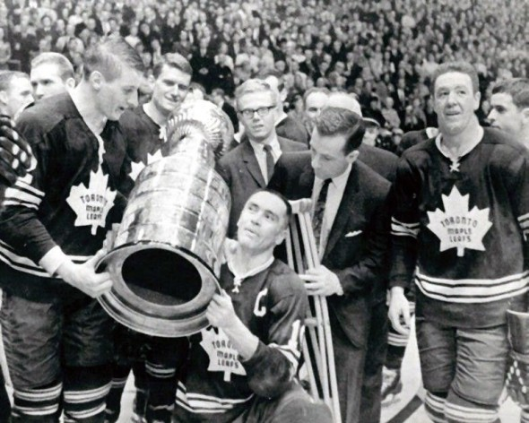Leafs players celebrate their Stanley Cup victory in 1967