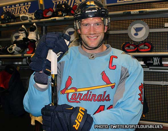 St Louis Blues Wearing Cardinals Baby Blue Tonight  0470d6fb6