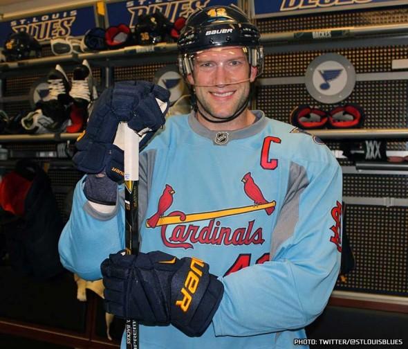 St Louis Blues wearing Cardinals jerseys pre-game tonight