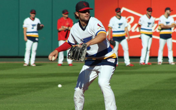 The Cardinals wore Blues jerseys before a game last September