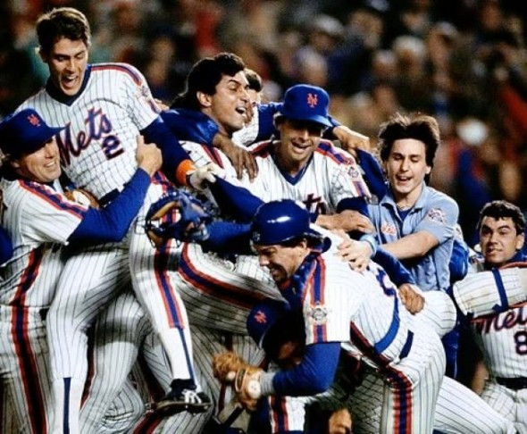The 1986 New York Mets celebrate winning the World Series