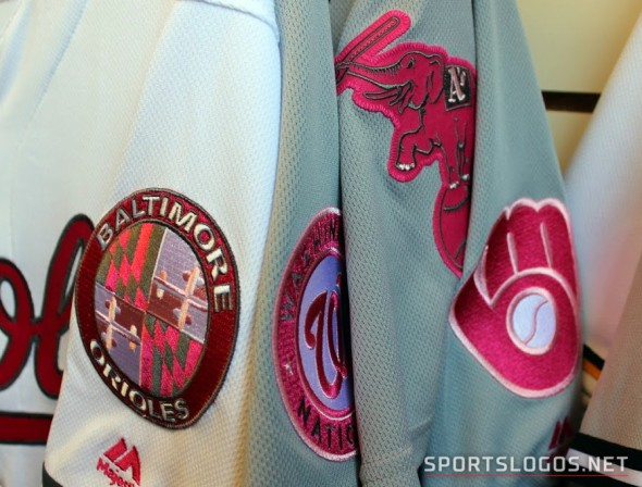 Pink sleeve patches, where applicable, for Mother's Day 2016 (Photo: Chris Creamer/SportsLogos.Net)