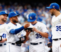 The Royals wearing their golden World Series Champs uniforms in 2016