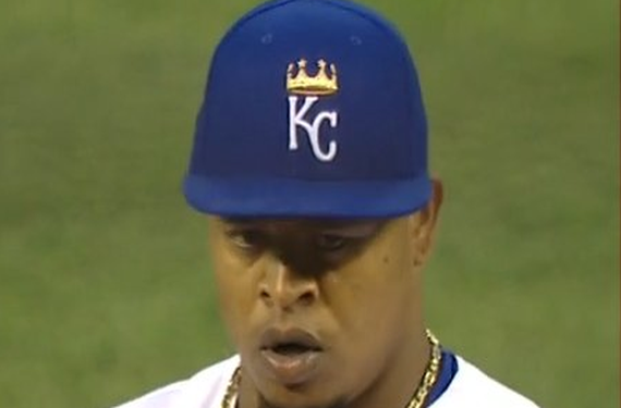 Edinson Volquez wears the wrong hat for Opening Day