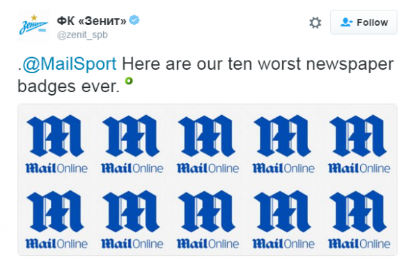 Zenit fires back at The Mail