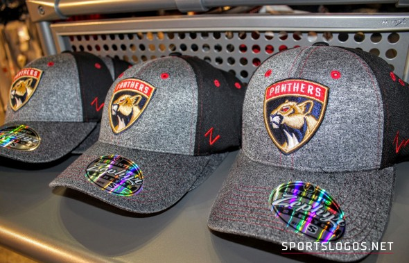 Caps featuring the new logo on sale at the Panthers team shop